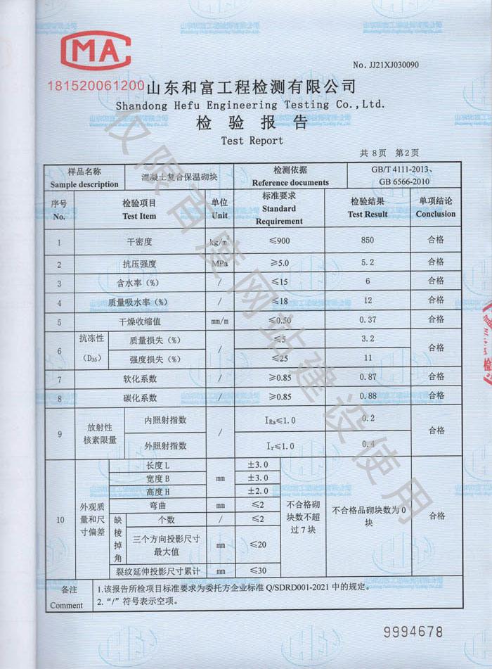 产品检验报告第2页